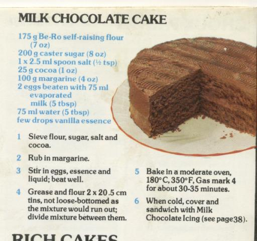 Be Ro Milk Chocolate Cake