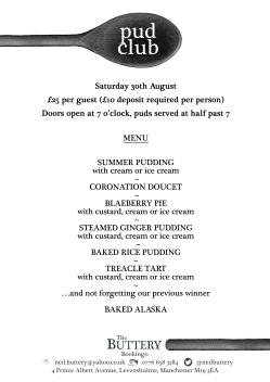 pudclub menu 30th august2
